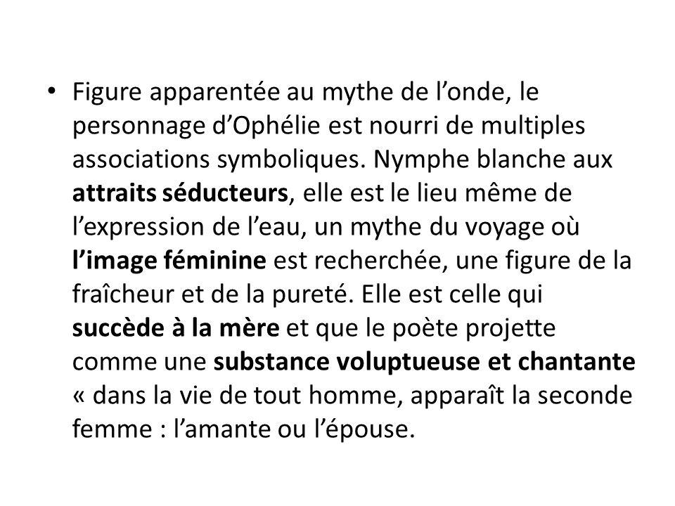 Figure apparentée au mythe de londe, le personnage dOphélie est nourri de multiples associations symboliques.