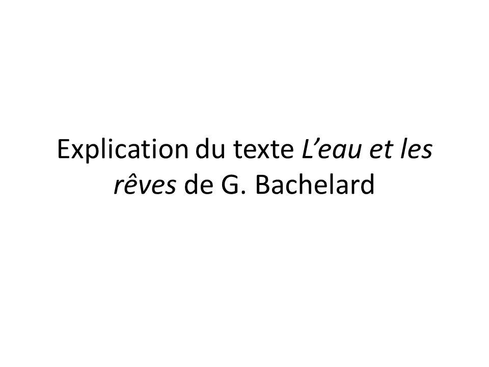 Explication du texte Leau et les rêves de G. Bachelard