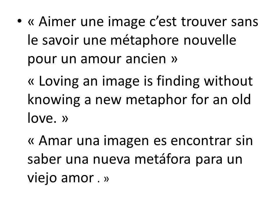 « Aimer une image cest trouver sans le savoir une métaphore nouvelle pour un amour ancien » « Loving an image is finding without knowing a new metaphor for an old love.
