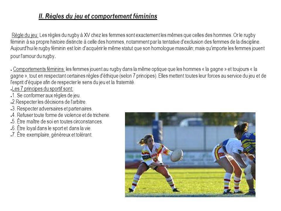 II. Règles du jeu et comportement féminins Règle du jeu: Les règles du rugby à XV chez les femmes sont exactement les mêmes que celles des hommes. Or