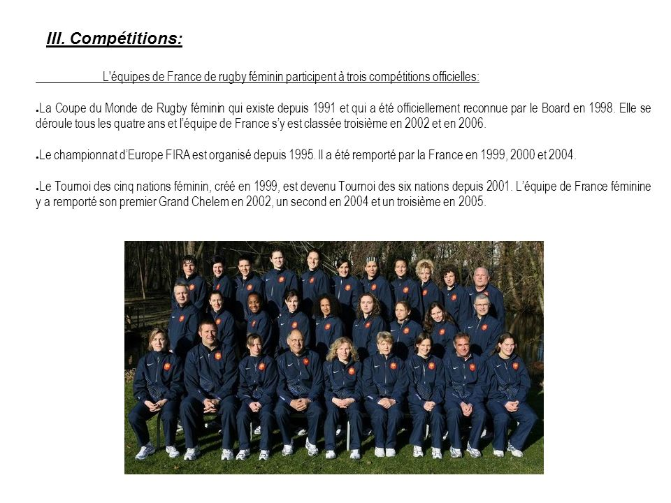 III. Compétitions: L'équipes de France de rugby féminin participent à trois compétitions officielles: La Coupe du Monde de Rugby féminin qui existe de