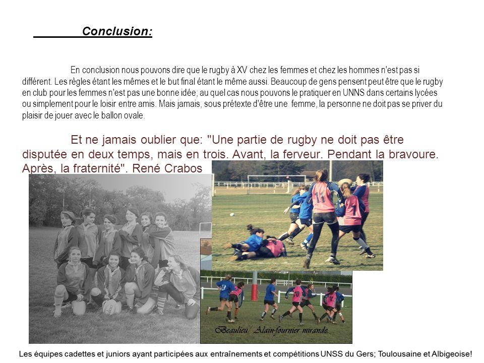 Conclusion: En conclusion nous pouvons dire que le rugby à XV chez les femmes et chez les hommes n est pas si différent.