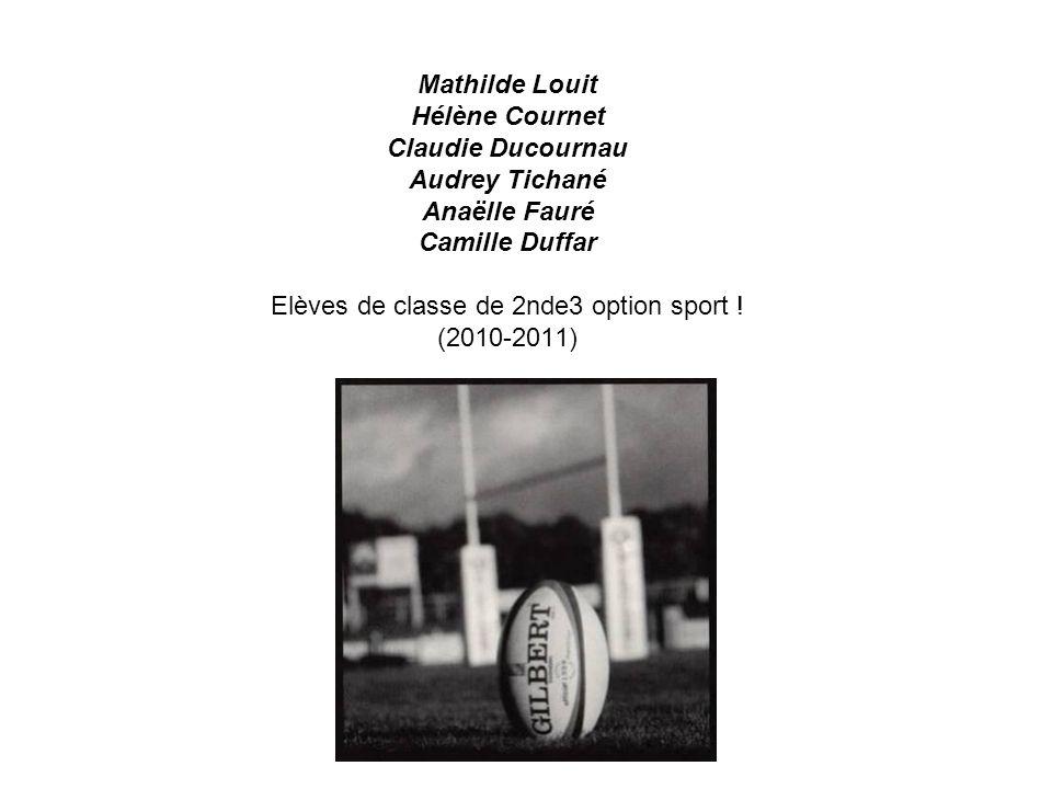 Mathilde Louit Hélène Cournet Claudie Ducournau Audrey Tichané Anaëlle Fauré Camille Duffar Elèves de classe de 2nde3 option sport .