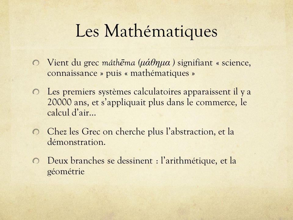Les Mathématiques Vient du grec máth ē ma ( μάθημα ) signifiant « science, connaissance » puis « mathématiques » Les premiers systèmes calculatoires a