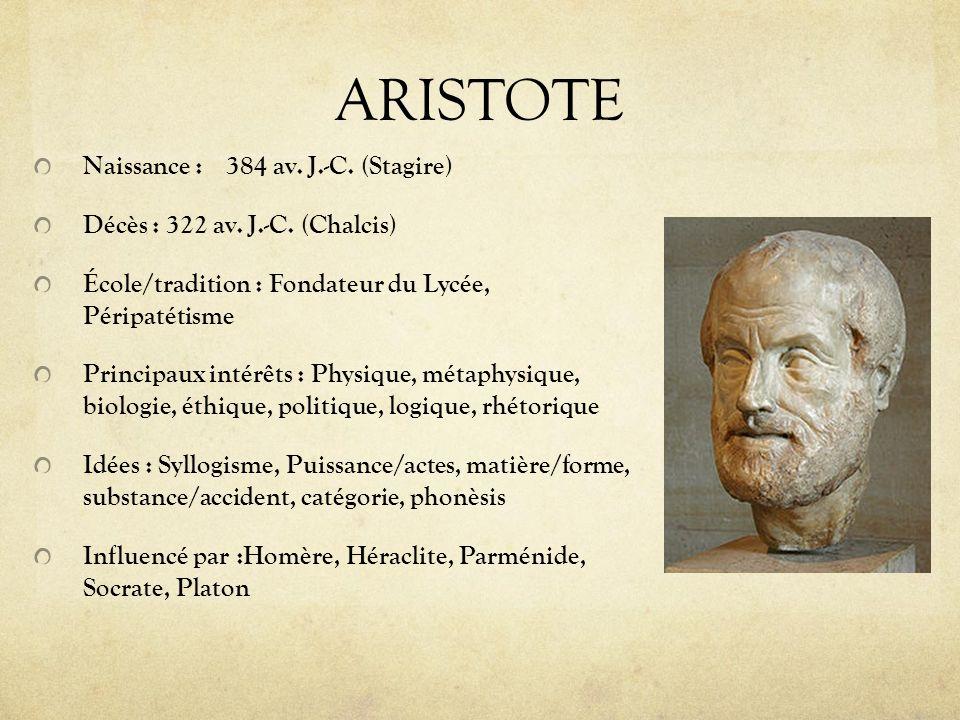 ARISTOTE Naissance :384 av. J.-C. (Stagire) Décès : 322 av. J.-C. (Chalcis) École/tradition : Fondateur du Lycée, Péripatétisme Principaux intérêts :