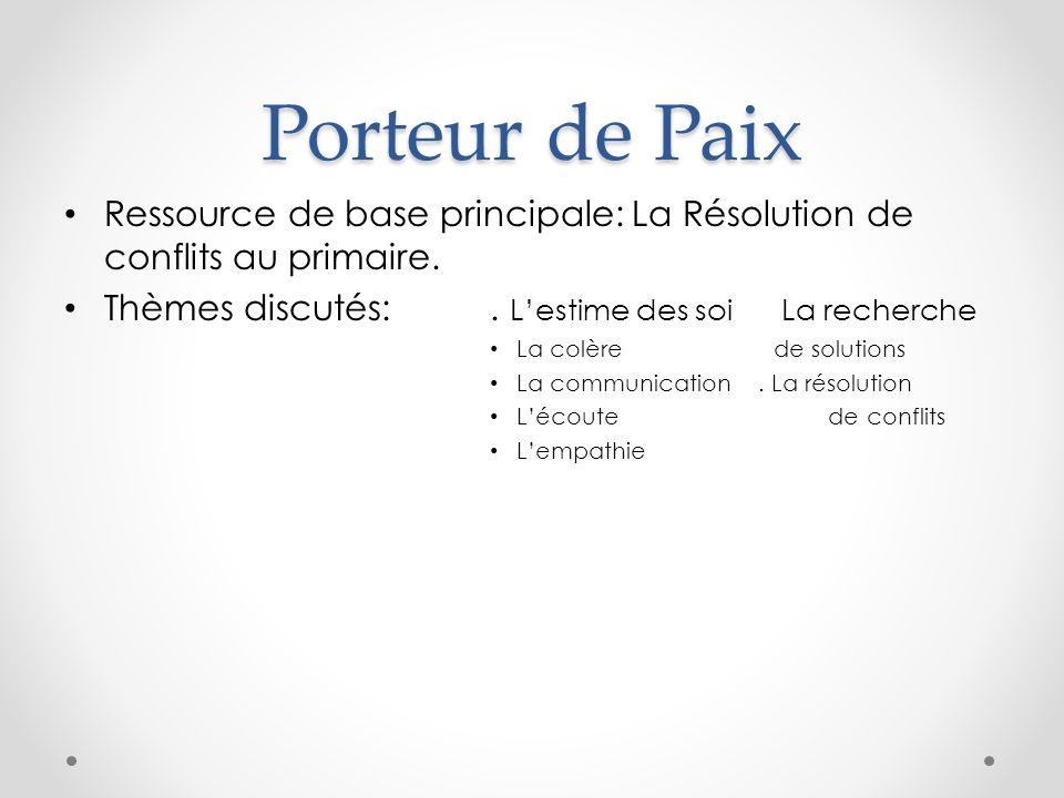 Porteur de Paix Ressource de base principale: La Résolution de conflits au primaire.
