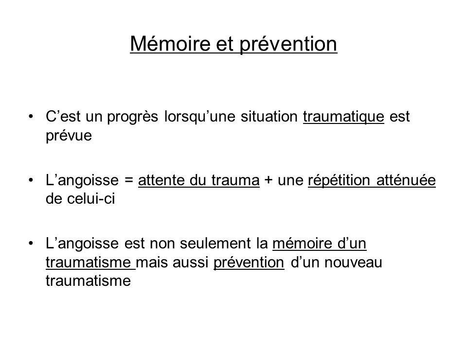 Mémoire et prévention Cest un progrès lorsquune situation traumatique est prévue Langoisse = attente du trauma + une répétition atténuée de celui-ci L