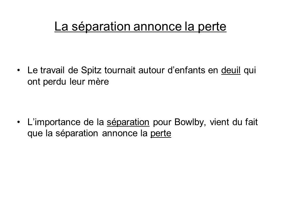 La séparation annonce la perte Le travail de Spitz tournait autour denfants en deuil qui ont perdu leur mère Limportance de la séparation pour Bowlby,