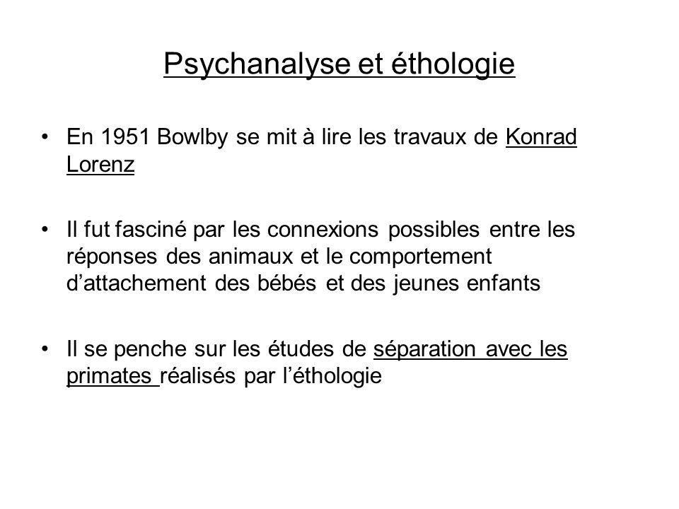 Psychanalyse et éthologie En 1951 Bowlby se mit à lire les travaux de Konrad Lorenz Il fut fasciné par les connexions possibles entre les réponses des