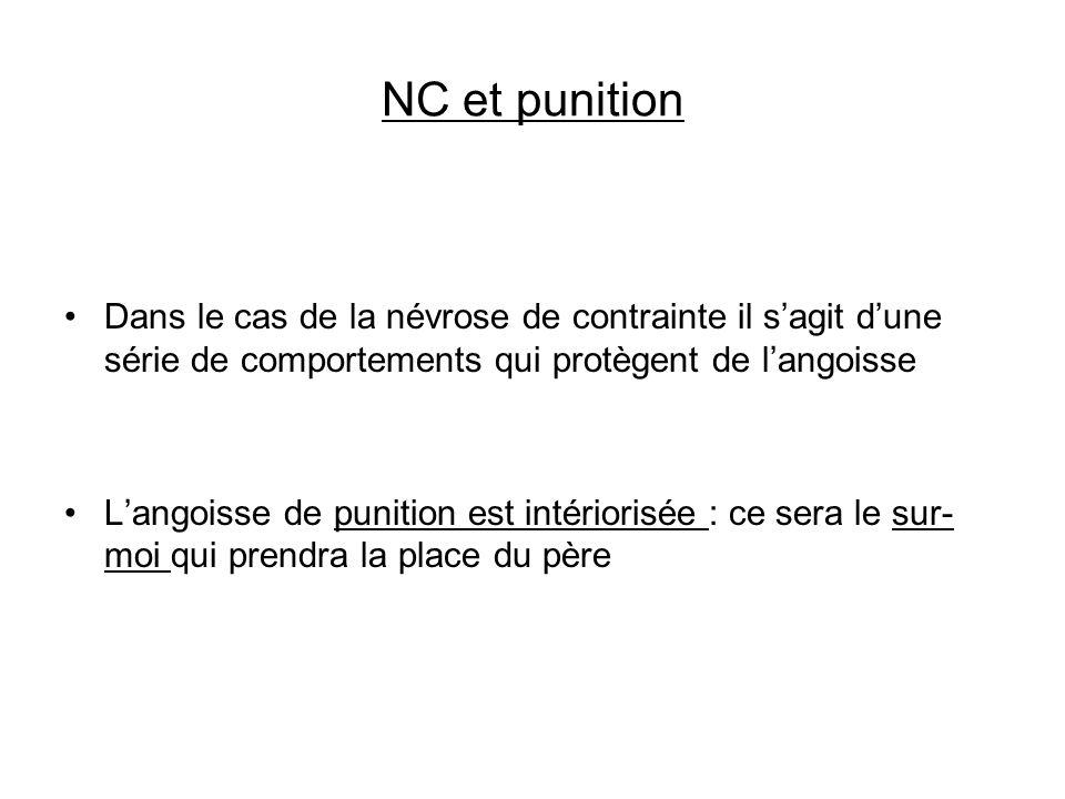 NC et punition Dans le cas de la névrose de contrainte il sagit dune série de comportements qui protègent de langoisse Langoisse de punition est intér