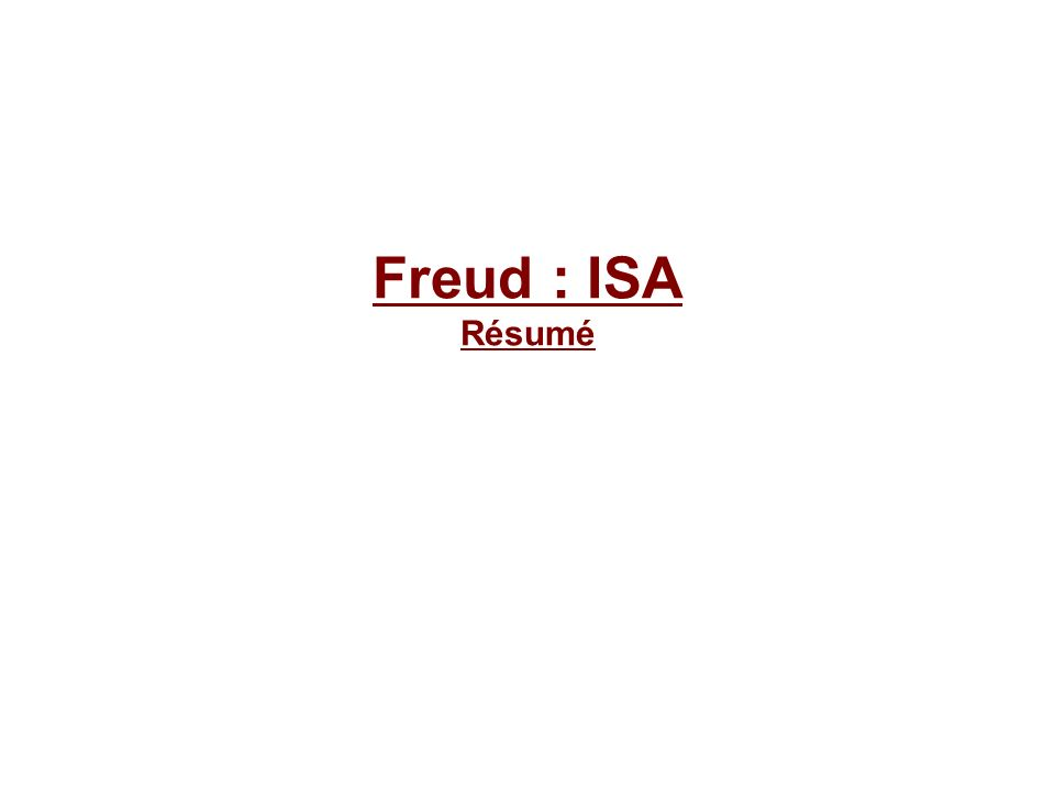 Freud : ISA Résumé