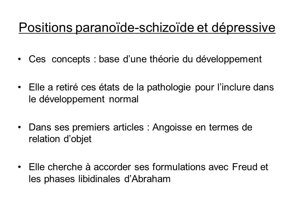 Positions paranoïde-schizoïde et dépressive Ces concepts : base dune théorie du développement Elle a retiré ces états de la pathologie pour linclure d