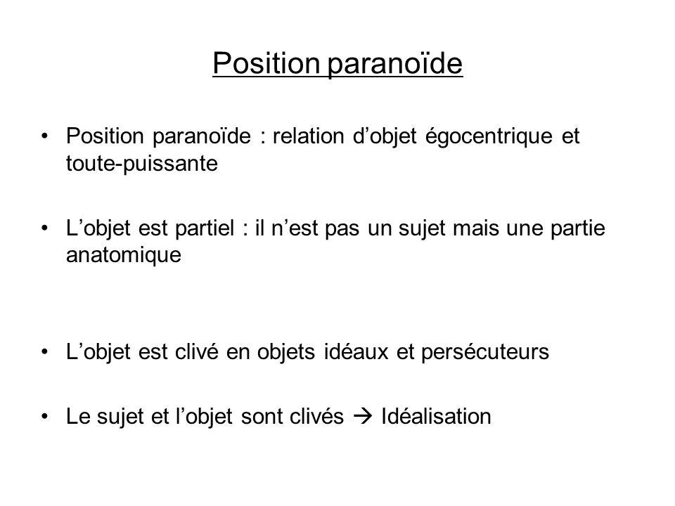 Position paranoïde Position paranoïde : relation dobjet égocentrique et toute-puissante Lobjet est partiel : il nest pas un sujet mais une partie anat