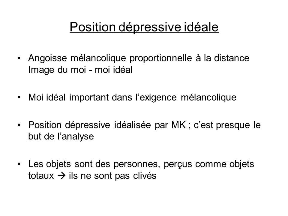 Position dépressive idéale Angoisse mélancolique proportionnelle à la distance Image du moi - moi idéal Moi idéal important dans lexigence mélancoliqu