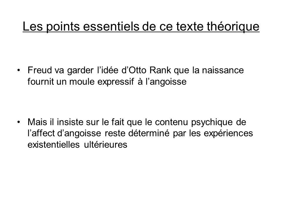 Les points essentiels de ce texte théorique Freud va garder lidée dOtto Rank que la naissance fournit un moule expressif à langoisse Mais il insiste s