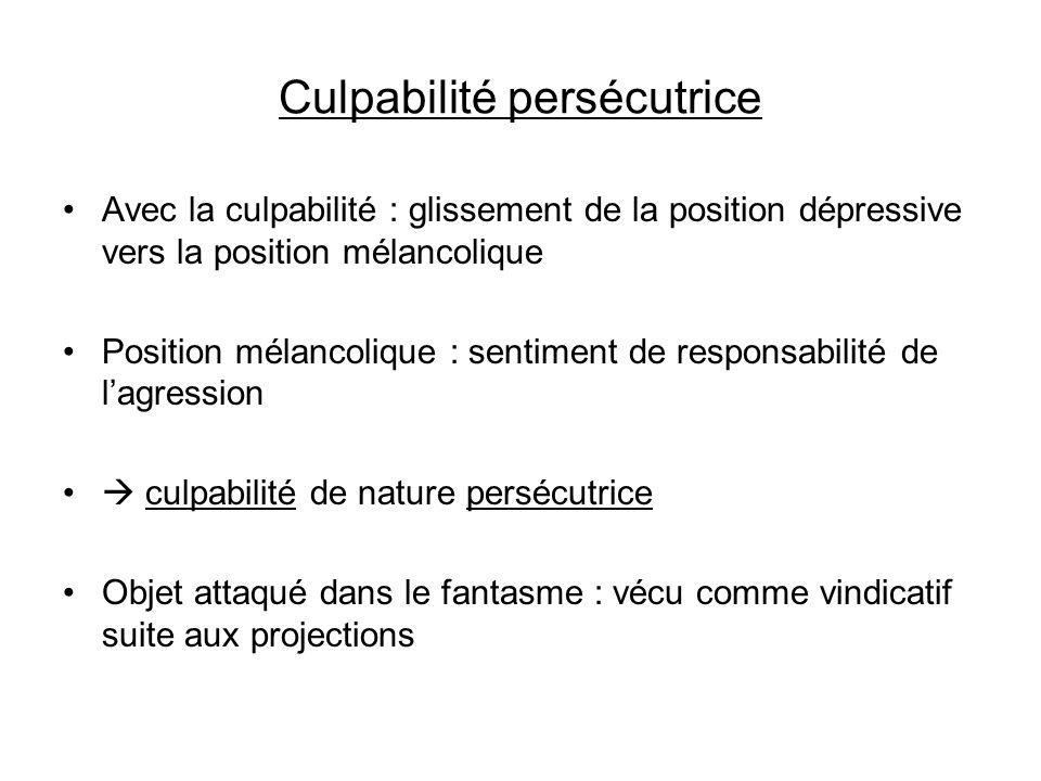 Culpabilité persécutrice Avec la culpabilité : glissement de la position dépressive vers la position mélancolique Position mélancolique : sentiment de