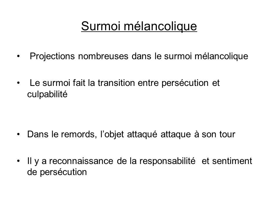 Surmoi mélancolique Projections nombreuses dans le surmoi mélancolique Le surmoi fait la transition entre persécution et culpabilité Dans le remords,