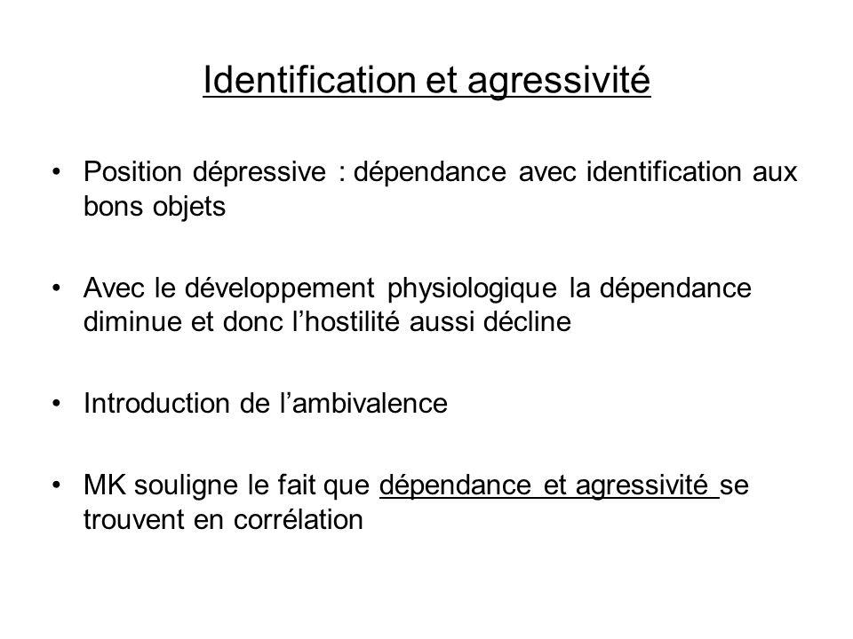 Identification et agressivité Position dépressive : dépendance avec identification aux bons objets Avec le développement physiologique la dépendance d