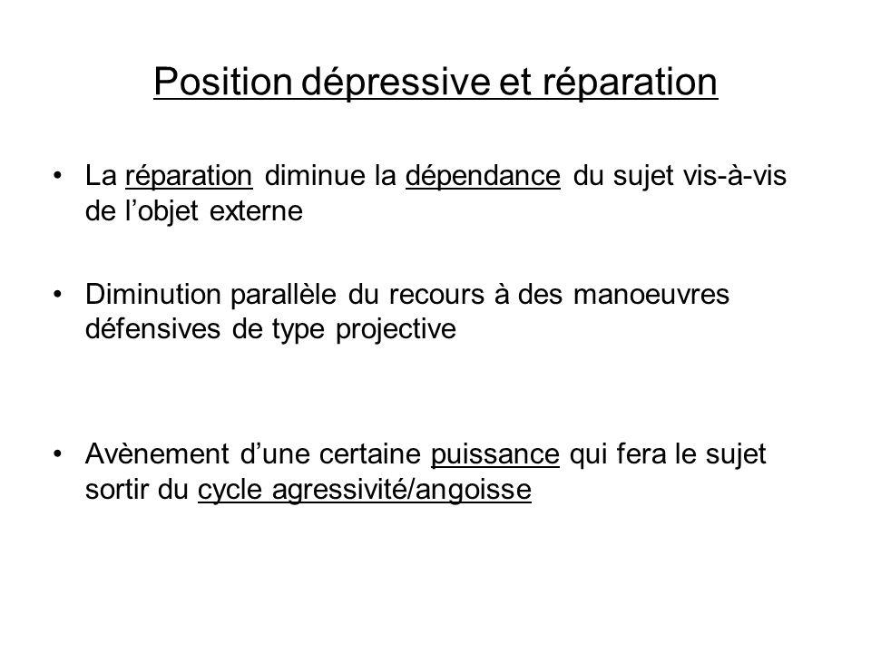 Position dépressive et réparation La réparation diminue la dépendance du sujet vis-à-vis de lobjet externe Diminution parallèle du recours à des manoe