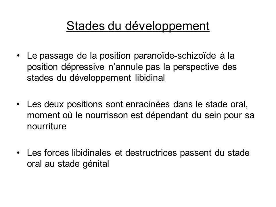 Stades du développement Le passage de la position paranoïde-schizoïde à la position dépressive nannule pas la perspective des stades du développement