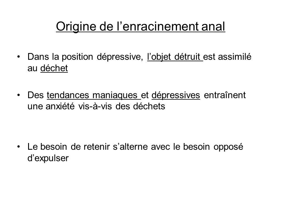 Origine de lenracinement anal Dans la position dépressive, lobjet détruit est assimilé au déchet Des tendances maniaques et dépressives entraînent une