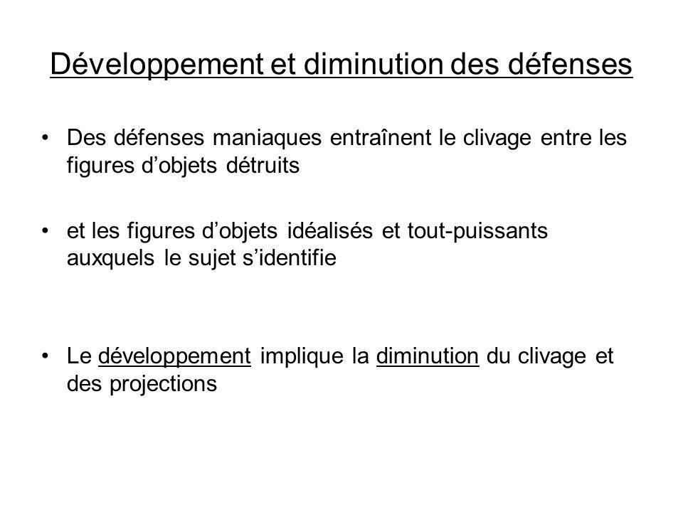 Développement et diminution des défenses Des défenses maniaques entraînent le clivage entre les figures dobjets détruits et les figures dobjets idéali