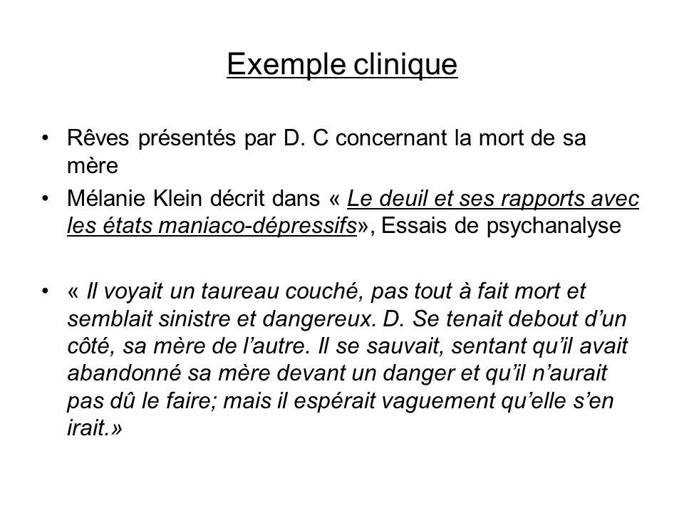 Exemple clinique Rêves présentés par D. C concernant la mort de sa mère Mélanie Klein décrit dans « Le deuil et ses rapports avec les états maniaco-dé