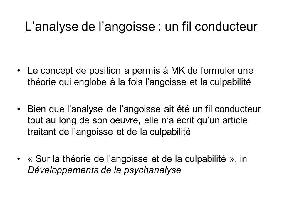 Lanalyse de langoisse : un fil conducteur Le concept de position a permis à MK de formuler une théorie qui englobe à la fois langoisse et la culpabili