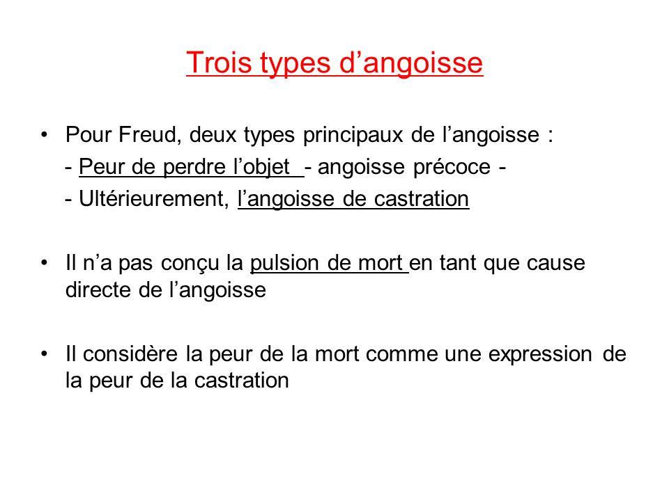 Trois types dangoisse Pour Freud, deux types principaux de langoisse : - Peur de perdre lobjet - angoisse précoce - - Ultérieurement, langoisse de cas