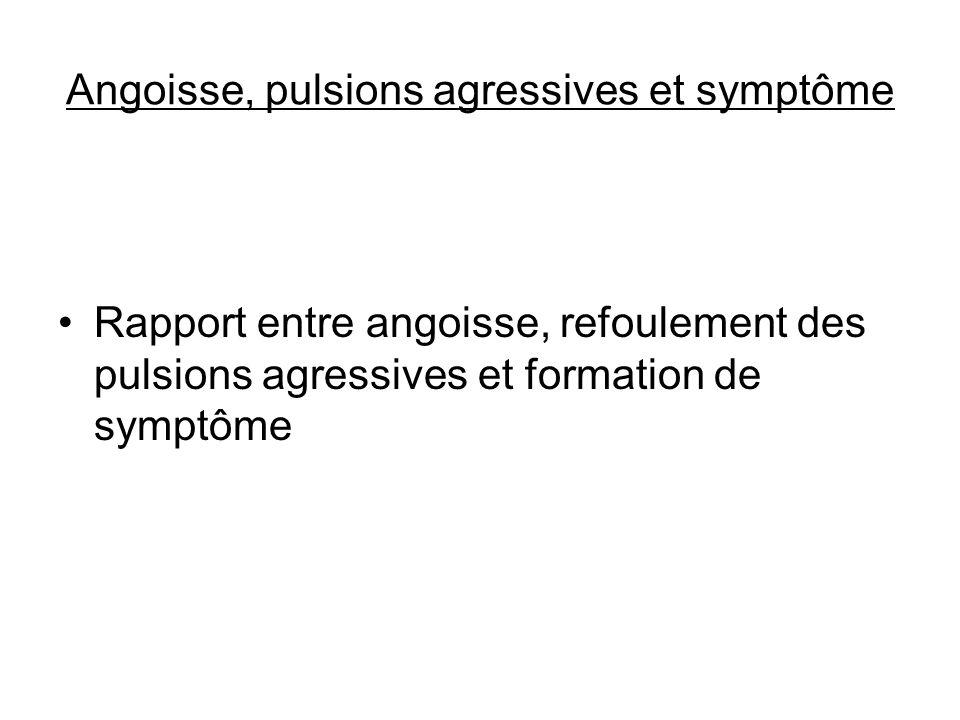 Angoisse, pulsions agressives et symptôme Rapport entre angoisse, refoulement des pulsions agressives et formation de symptôme