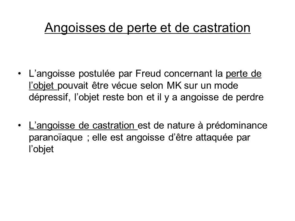 Angoisses de perte et de castration Langoisse postulée par Freud concernant la perte de lobjet pouvait être vécue selon MK sur un mode dépressif, lobj