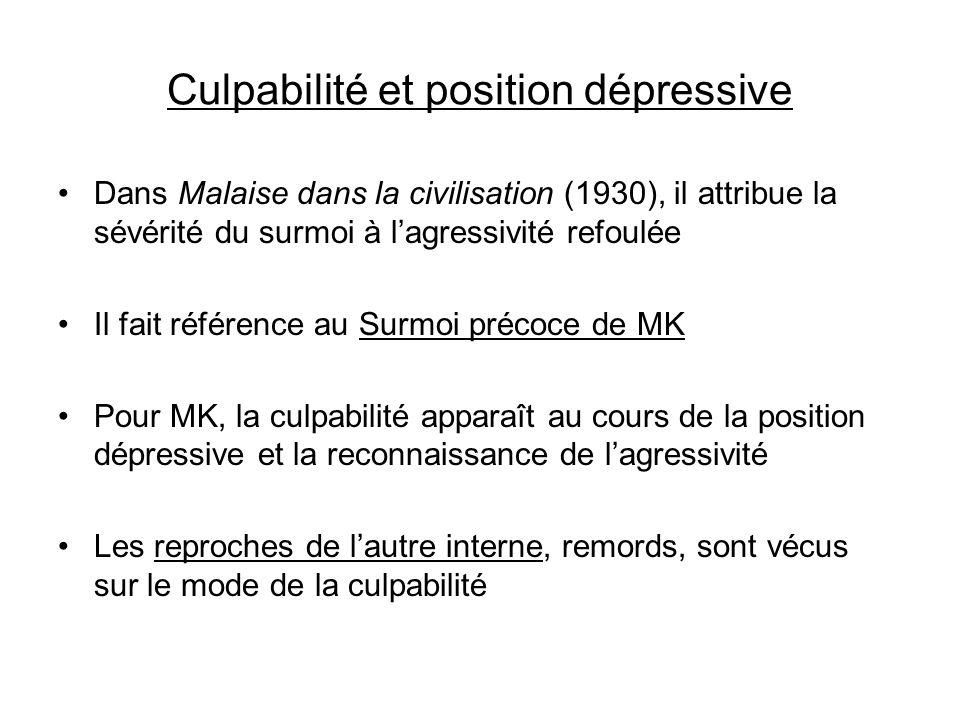 Culpabilité et position dépressive Dans Malaise dans la civilisation (1930), il attribue la sévérité du surmoi à lagressivité refoulée Il fait référen