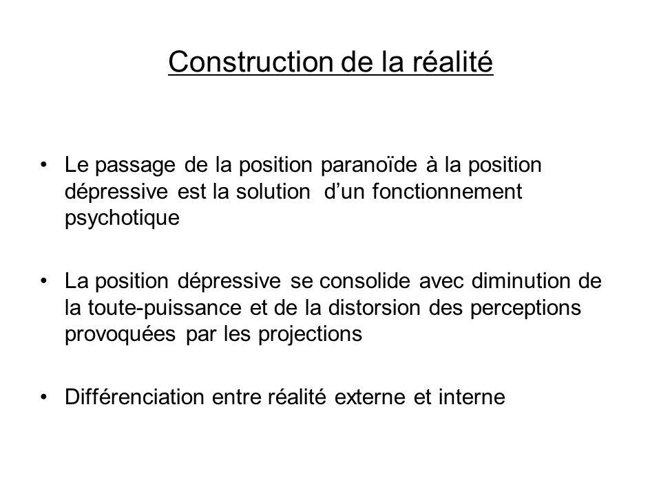 Construction de la réalité Le passage de la position paranoïde à la position dépressive est la solution dun fonctionnement psychotique La position dép