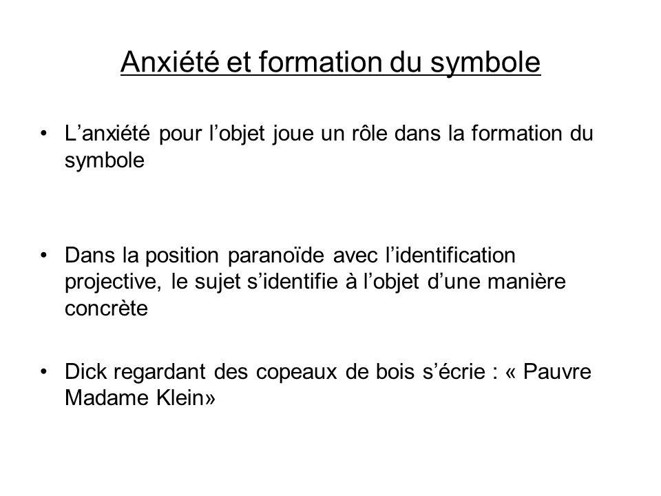 Anxiété et formation du symbole Lanxiété pour lobjet joue un rôle dans la formation du symbole Dans la position paranoïde avec lidentification project
