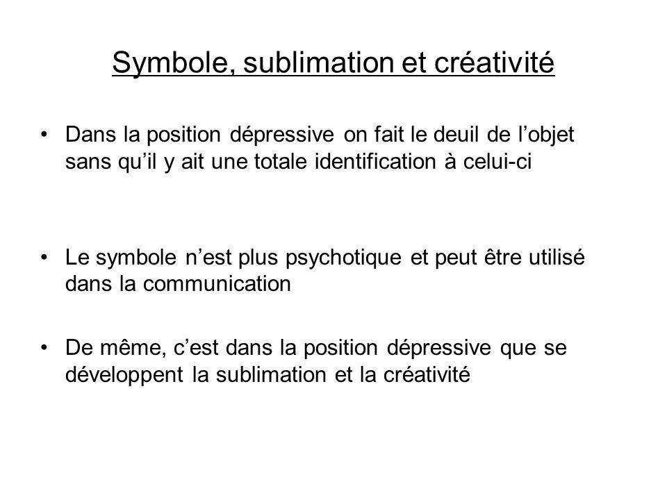 Symbole, sublimation et créativité Dans la position dépressive on fait le deuil de lobjet sans quil y ait une totale identification à celui-ci Le symb