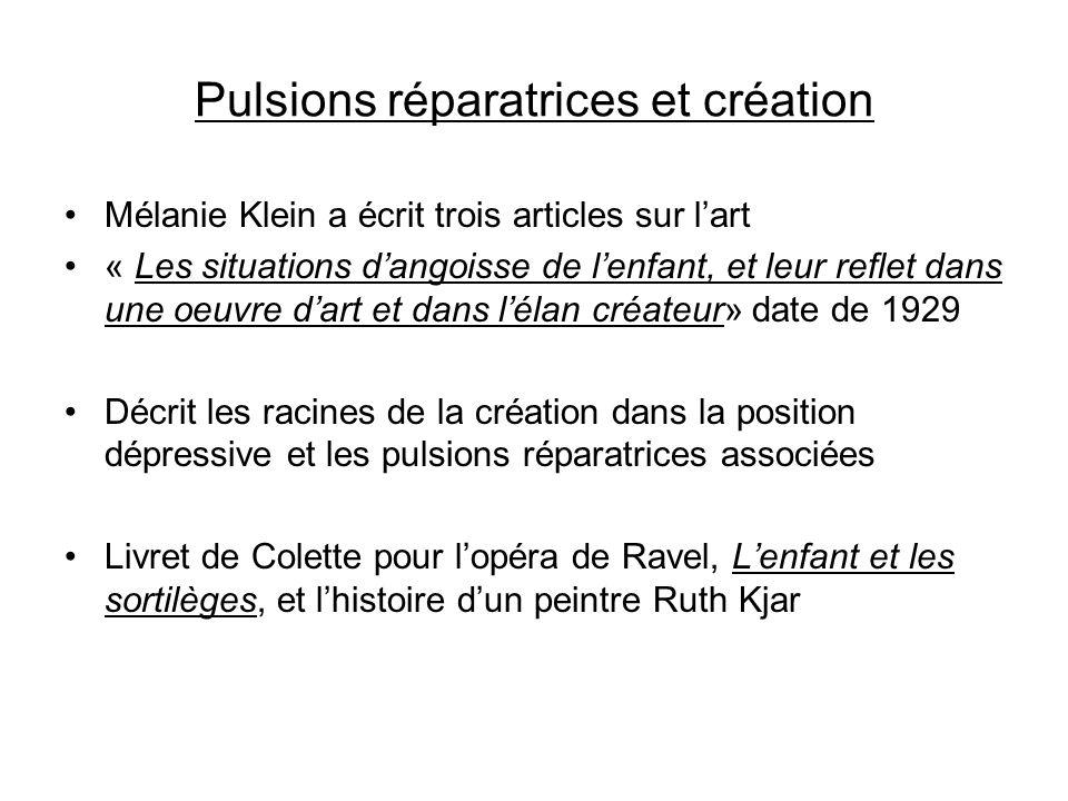 Pulsions réparatrices et création Mélanie Klein a écrit trois articles sur lart « Les situations dangoisse de lenfant, et leur reflet dans une oeuvre