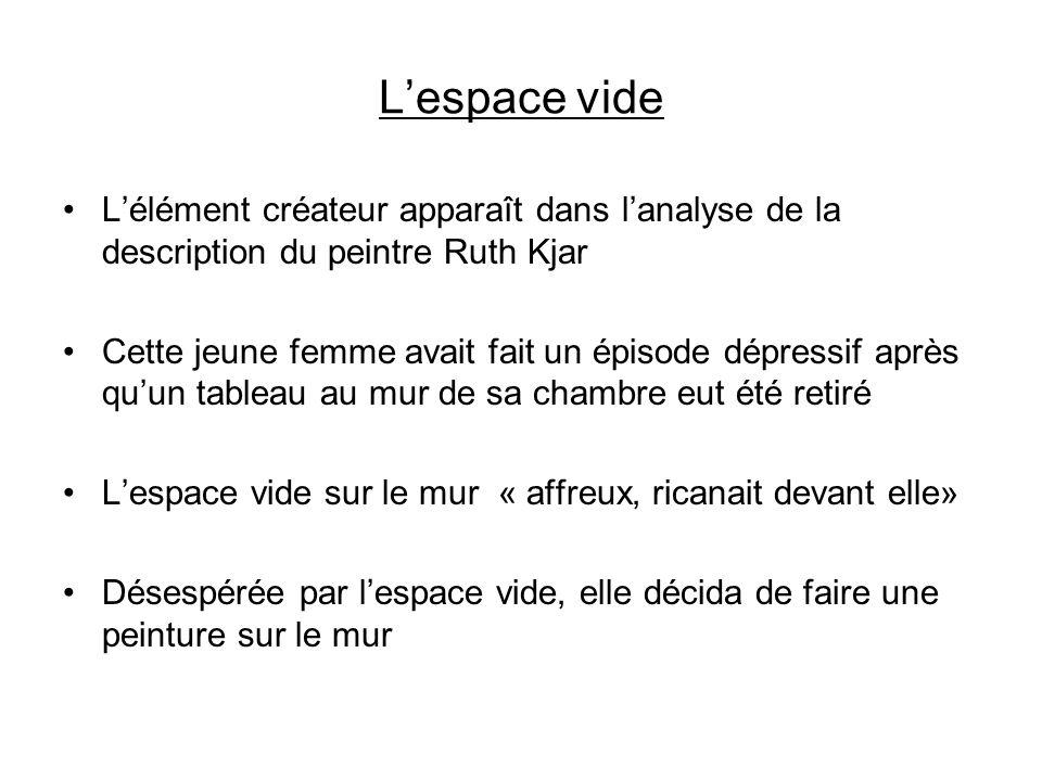 Lespace vide Lélément créateur apparaît dans lanalyse de la description du peintre Ruth Kjar Cette jeune femme avait fait un épisode dépressif après q