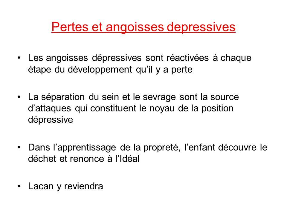 Pertes et angoisses depressives Les angoisses dépressives sont réactivées à chaque étape du développement quil y a perte La séparation du sein et le s
