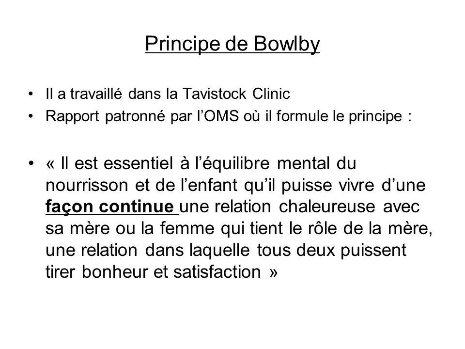 Principe de Bowlby Il a travaillé dans la Tavistock Clinic Rapport patronné par lOMS où il formule le principe : « Il est essentiel à léquilibre menta