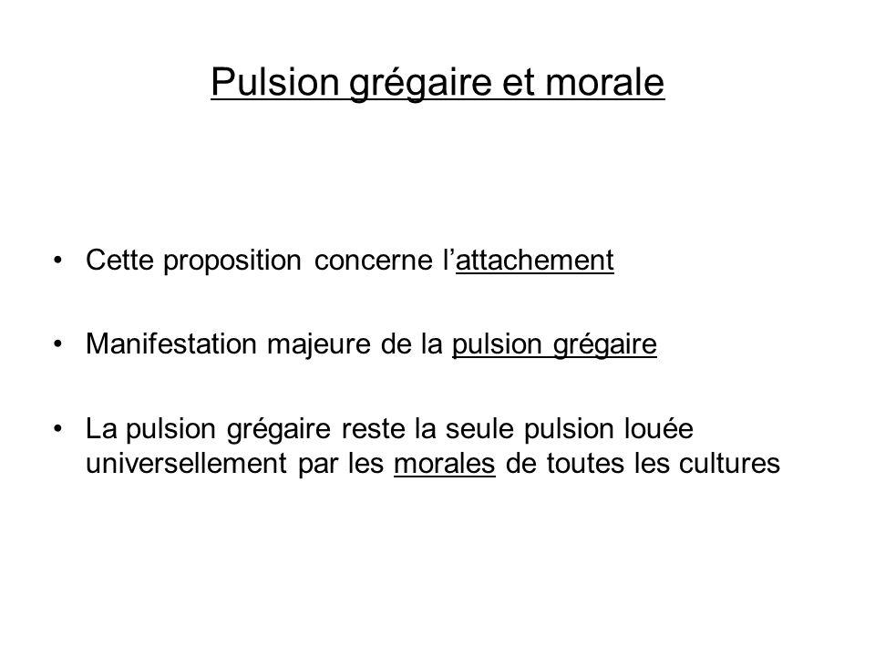 Pulsion grégaire et morale Cette proposition concerne lattachement Manifestation majeure de la pulsion grégaire La pulsion grégaire reste la seule pul