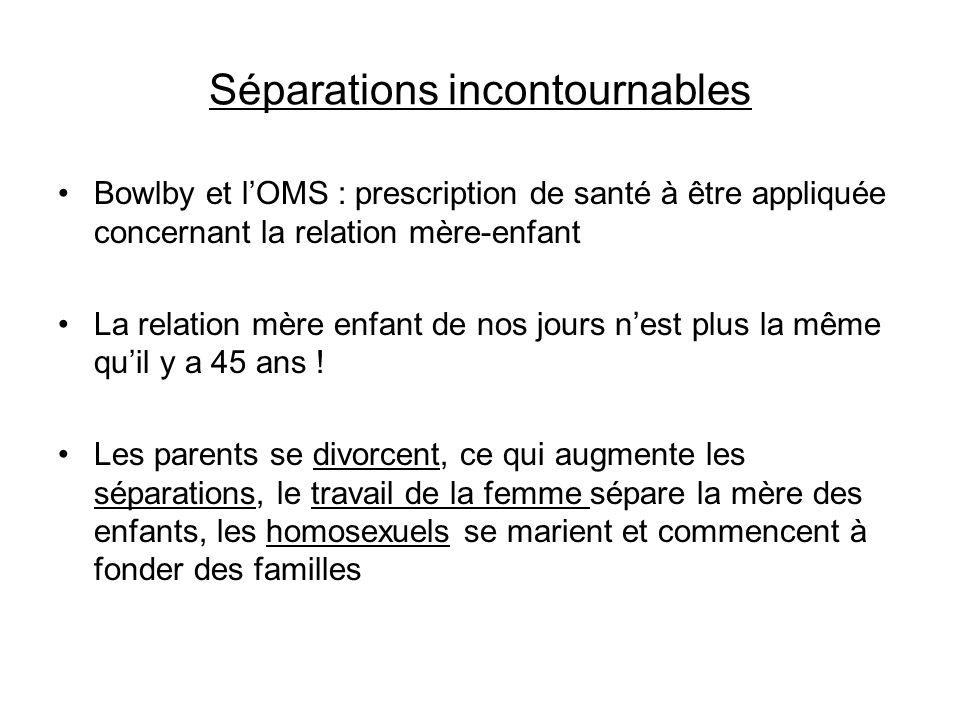 Séparations incontournables Bowlby et lOMS : prescription de santé à être appliquée concernant la relation mère-enfant La relation mère enfant de nos