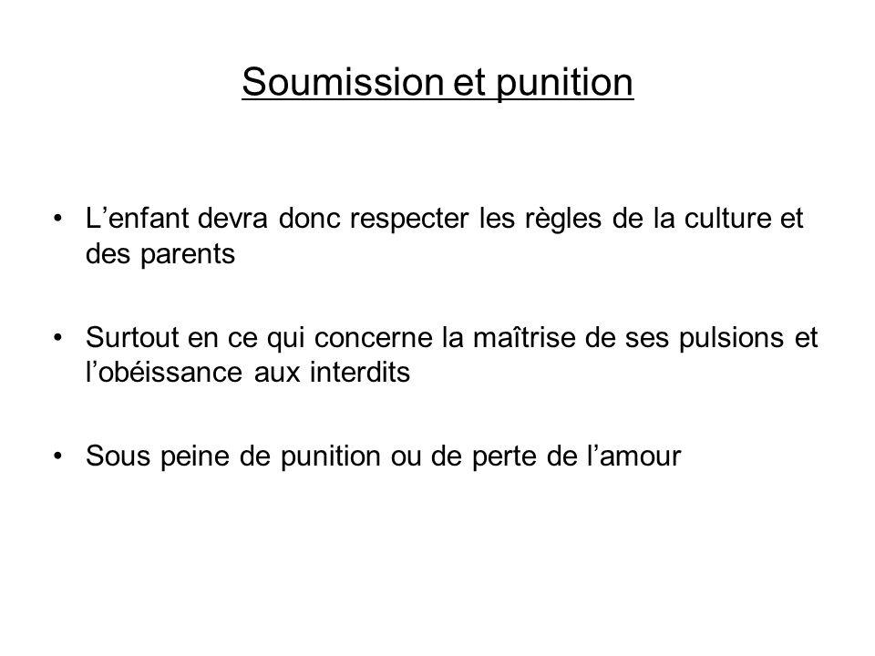 Soumission et punition Lenfant devra donc respecter les règles de la culture et des parents Surtout en ce qui concerne la maîtrise de ses pulsions et