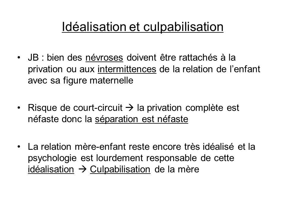 Idéalisation et culpabilisation JB : bien des névroses doivent être rattachés à la privation ou aux intermittences de la relation de lenfant avec sa f