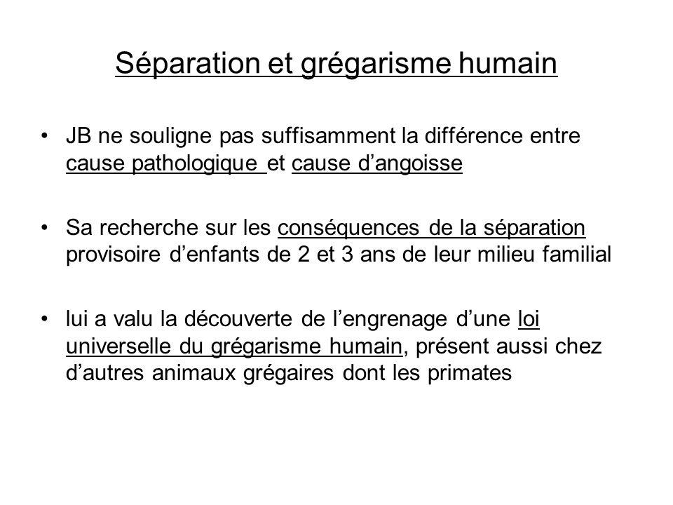 Séparation et grégarisme humain JB ne souligne pas suffisamment la différence entre cause pathologique et cause dangoisse Sa recherche sur les conséqu