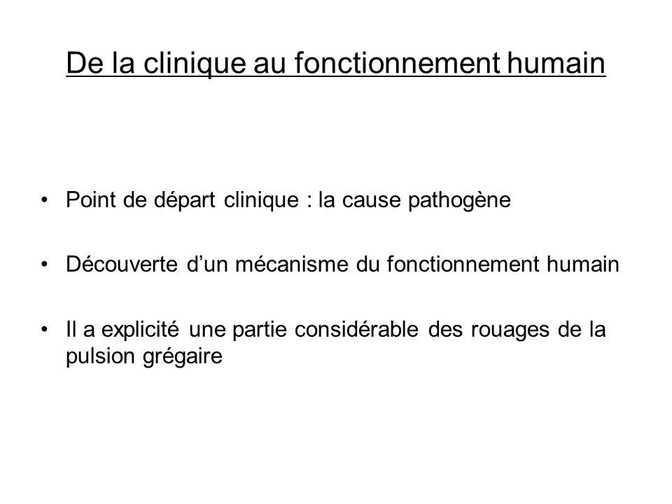 De la clinique au fonctionnement humain Point de départ clinique : la cause pathogène Découverte dun mécanisme du fonctionnement humain Il a explicité