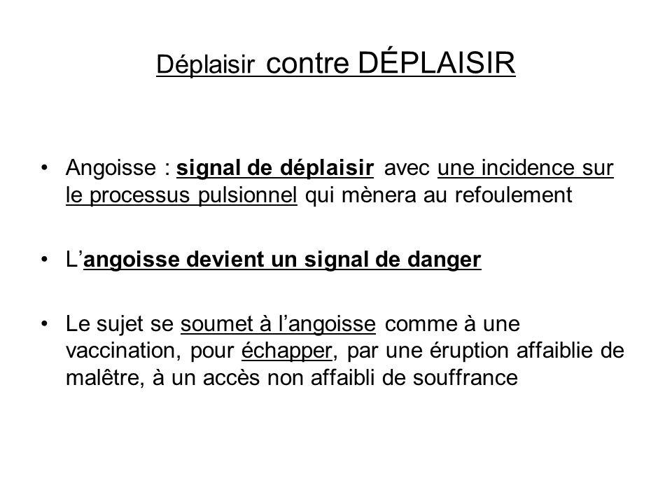 Déplaisir contre DÉPLAISIR Angoisse : signal de déplaisir avec une incidence sur le processus pulsionnel qui mènera au refoulement Langoisse devient u