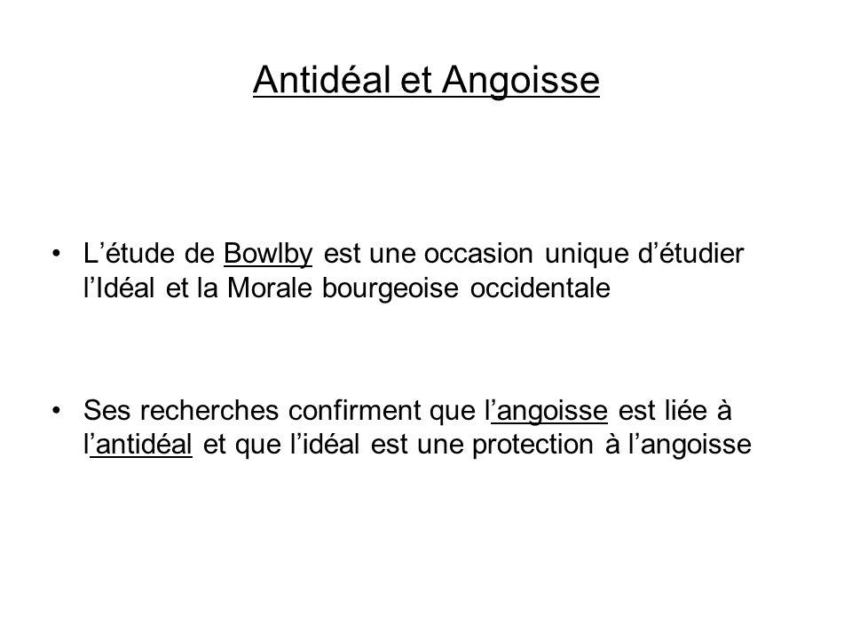 Antidéal et Angoisse Létude de Bowlby est une occasion unique détudier lIdéal et la Morale bourgeoise occidentale Ses recherches confirment que langoi