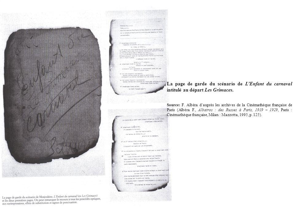 La page de garde du scénario de LEnfant du carnaval intitulé au départ Les Grimaces. Source: F. Albéra dauprès les archives de la Cinémathèque françai