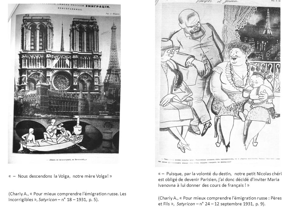 « – Nous descendons la Volga, notre mère Volga! » (Chariy A., « Pour mieux comprendre lémigration russe. Les incorrigibles », Satyricon – n° 18 – 1931