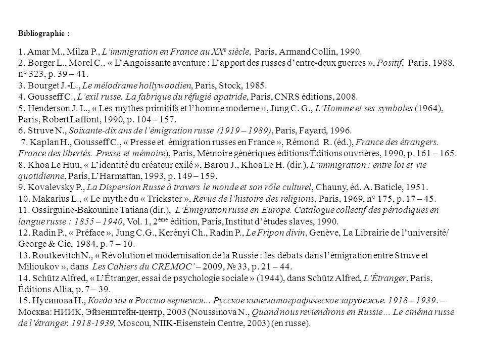 Bibliographie : 1. Amar M., Milza P., Limmigration en France au XX e siècle, Paris, Armand Collin, 1990. 2. Borger L., Morel C., « LAngoissante aventu
